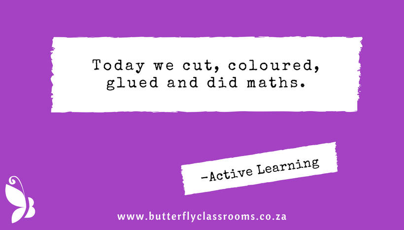 Today we cut, coloured, glued and did maths.
